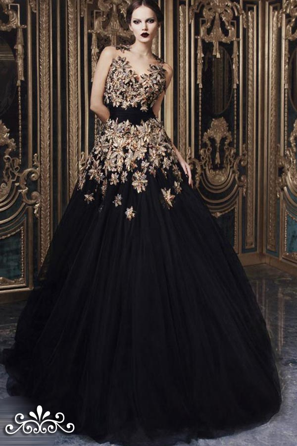 Black wedding dress black wedding dresses for Images of black wedding dresses